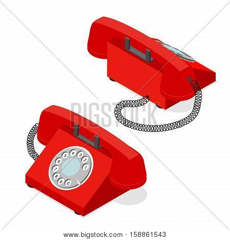 Red Old Phone Set Isometric View with Rotary Dial. Symbol of Support and Service Vector illustration
