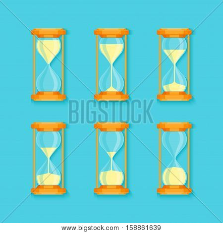 Transparent Sandglass Set on Blue Background Flat Design Style Process Timer Hour or Minute. Vector illustration