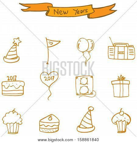 New Year icons collection stock vector art