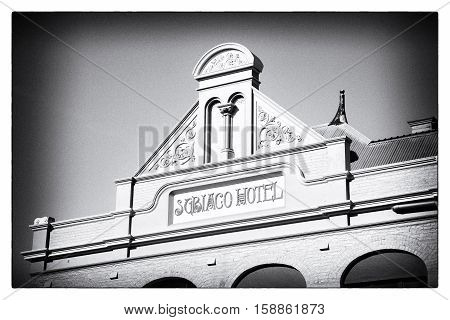 PERTH, WESTERN AUSTRALIA - JULY 12, 2014: The pediment of Subiaco Hotel in Perth, Western Australia, is a splendid example of the fine colonial architecture of the city.