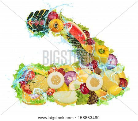 Arm muscles formed from fruits and vegetables