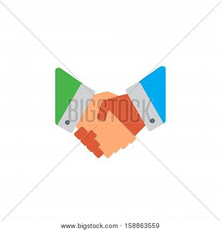 Vector icon or illustration showing deal with two hands shake each other in material design style