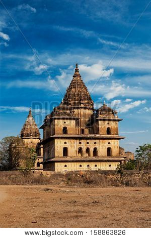 Royal cenotaphs of Orchha. Orchha, Madhya Pradesh, India