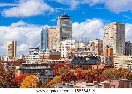 Boston, Massachusetts, USA downtown cityscape in autumn.