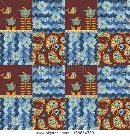 Patchwork pattern with blue flowers and paisley ornament, paisley flowers and birds.