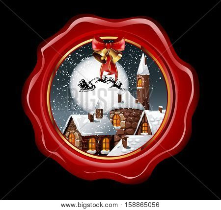 Christmas illustration of wax seal with snowy town and santa claus flying on his sleigh on the nighty skies. Vector Illustration.