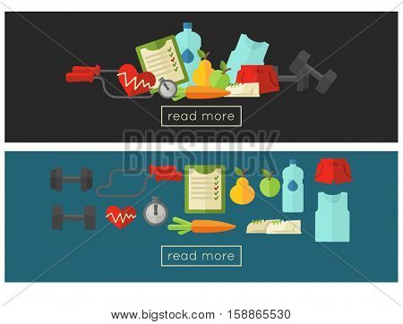 Healthy lifestyle web banners template set. Vector wellness concept flat Illustration.