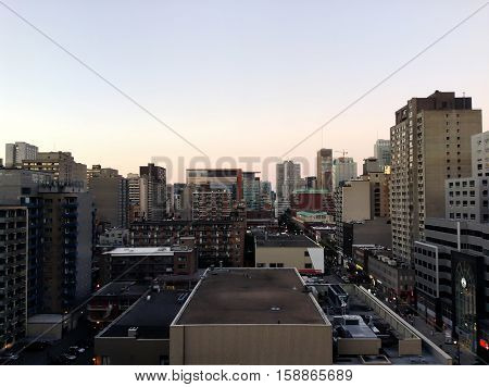 Downtown Montreal buildings in a cloudless day