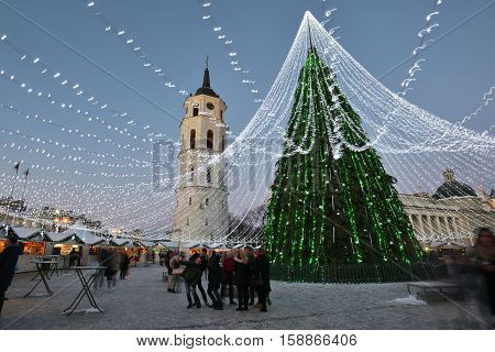 VILNIUS LITHUANIA - NOVEMBER 28: view of the christmas tree in Vilnius on November 28 2016 in Vilnius Lithuania. In 1994 the Vilnius Old Town was included in the UNESCO World Heritage List.