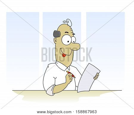 Fun cartoon man filling form such as tax form, insurance claim and pen. Vector