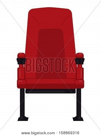 Comfortable red cinema seat for watching movies isolated on white. Vector illustration. EPS10