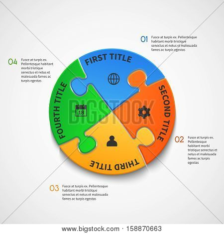 Business infographic vector template with puzzle options. Puzzle step connection template, illustration of graphic puzzle