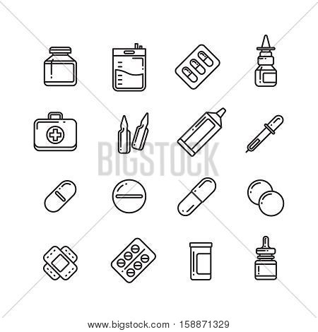 Pills, drugs, pharmacy medicine, medication line vector icons. Medication capsule vitamin, chemical tablet in bottle illustration