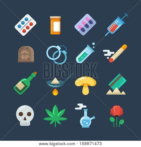 Illegal drug tablets, alcohol addiction, methamphetamine abuse vector flat icons. Set of drugs heroin and smoking, illustration of hallucinogenic mushroom and collection of drug