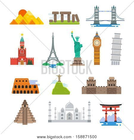 Famous architecture world travel vector landmarks icons. Collection of famous landmarks pyramid and pisa tower, big be and, taj mahal landmark illustration