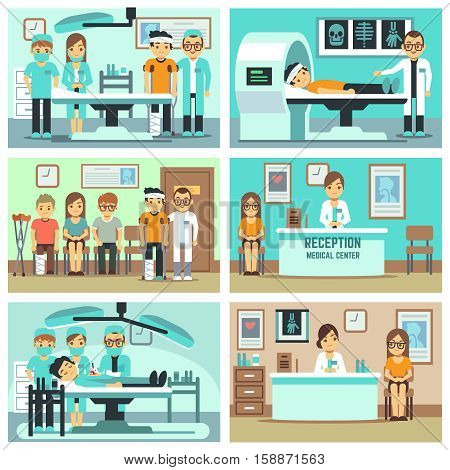 People, patients in hospital, medical staff in office, medical consultation, treatments and examination vector flat concepts. Illustration of medical operation illustration