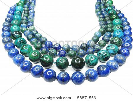 semigem necklace with bright crystals jewellery set