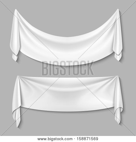 Wrinkled textile drape fabric vector empty white banners set. White sheet for advertisement, illustration of empty fabric sheet