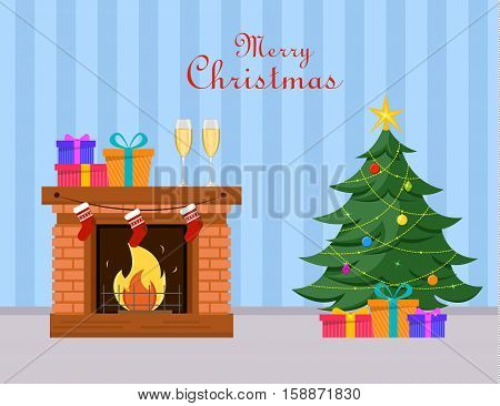 Miniature Christmas tree and gifts under it stands near fireplace two champagne glasses and gift boxes on fireplace. Blue striped background. Merry Christmas and Happy New Year postcard. Vector.