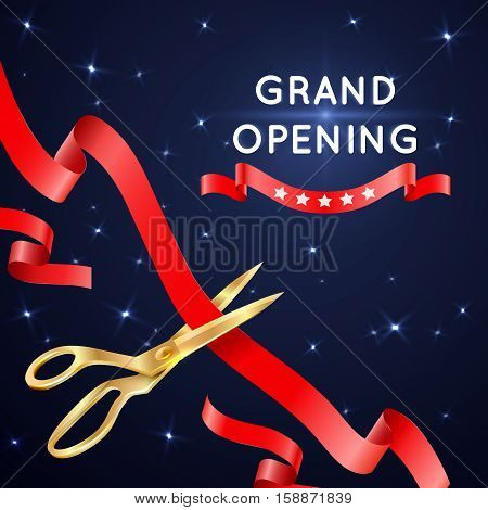 Ribbon cutting with scissors grand opening vector poster. Banner with cut silk ribbon, important ceremonial event with ribbon cutting illustration