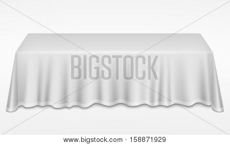 Empty dinner banquet table with white cloth 3d realistic desk vector illustration. Dinner empty table with white tablecloth