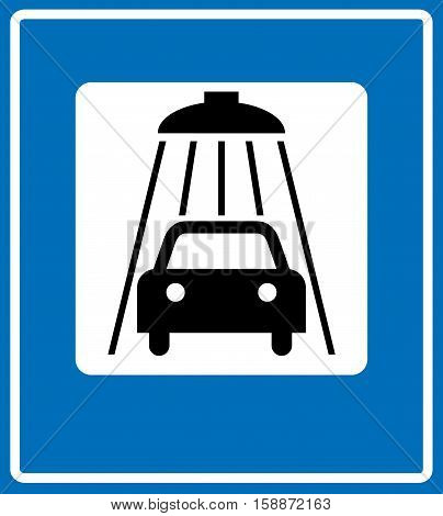 Vector illustration of blue road sign car wash symbol isolated on white. Vector banner for traffic, road, public places, autobahn, carwash center