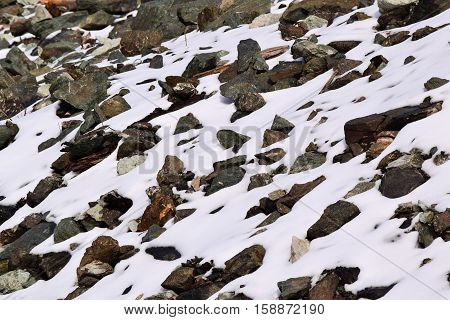 Barren desolate rocky landscape surrounded with snow