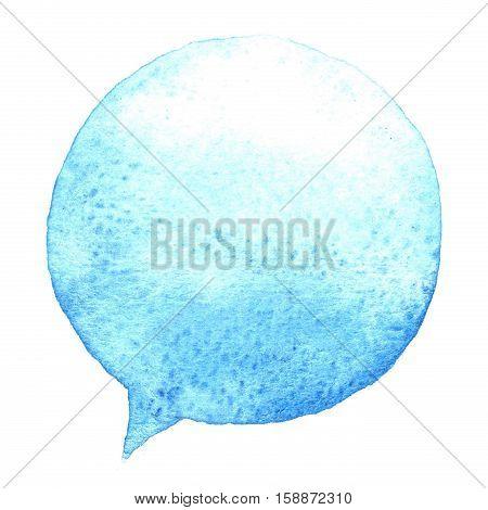 Speak Blue Bubble Watercolor. Design Element. Hand Drawn Speech.