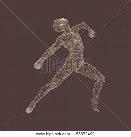Gymnast performs an artistic element. Rhythmic gymnastics, acrobatics and aerobics. 3D Human Body Model. Vector Illustration.
