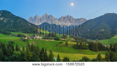 Moon over Santa Maddalena, Val Di Funes, Dolomites, Italy