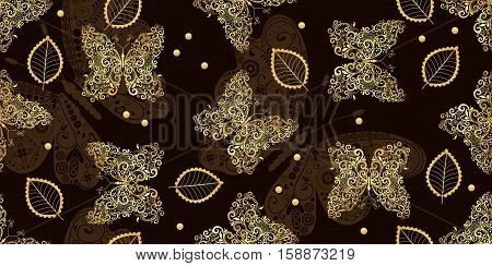 Dark brown seamless vintage pattern with golden tracery butterflies and leaves vector