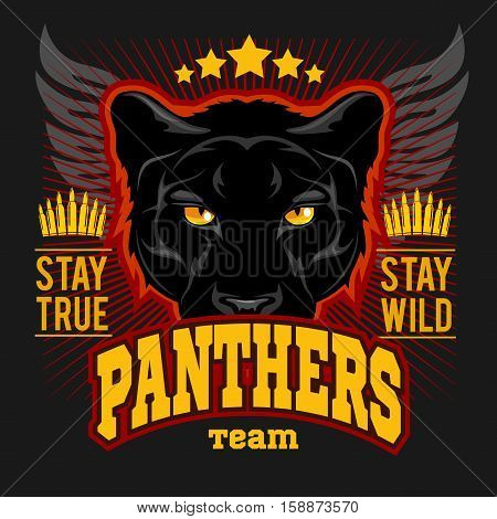 Hunting club sign. Hunter sport team shield symbol. Safari hunt of wild animal panther, logo, star. Vintage style