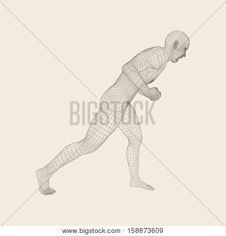 Fighter. Fitness sports. Martial arts. 3D Model of Man. Human Body. Sports Symbol. Design Element. Grid Vector Illustration.