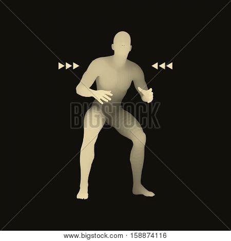 Fighter. Sports concept. 3D Model of Man. Human Body. Sport Symbol. Design Element. Vector Illustration.