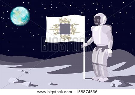 Robot on the moon. Banner with a chip. Blue earth in sky.Vector. Illustration