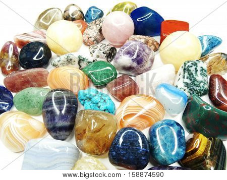 amethyst quartz avanturine sodalite garnet semigem crystals geological mineral isolated poster