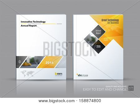 Business vector set. Brochure template layout, cover design annual report, magazine, flyer in A4 with yellow rectangular shapes, diagonal lines, parallelogram for IT, business, building. Abstract.
