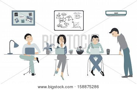 People working in an office, coworking space vector illustration, flat style