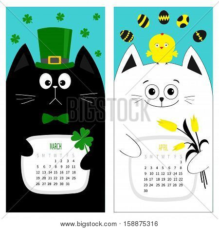 Cat calendar 2017. Cute funny cartoon character set. March April spring month. Green hat tye bow chicken egg. Clover leaf tulip flower. Happy Patricks day Easter Flat design. Blue background. Vector