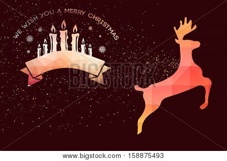 Graphic christmas message with candles against graphic jumping reindeer