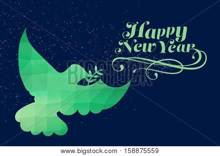 Elegant happy new year against translucent glass in green dove with leaf shape
