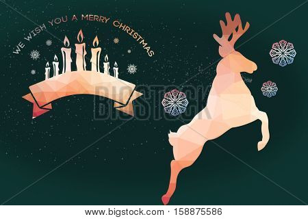 Graphic christmas message with candles against graphic snowflake