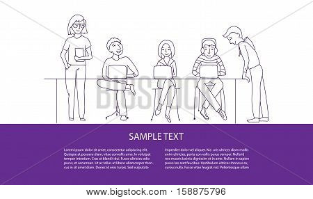 Teamwork, business team vector illustration concept, flat thin line style, place for text, horizontal banner