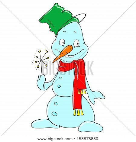 Cute character snowman with a bucket on his head. Cartoon snowman with a sparkler. Vector