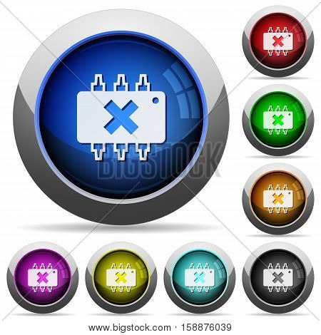 Hardware failure icons in round glossy buttons with steel frames