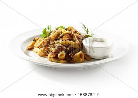 Pan Fried Potatoes with Mushrooms and Onions