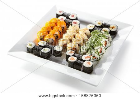 Sushi Set - Different Types of Maki Sushi on White Plate