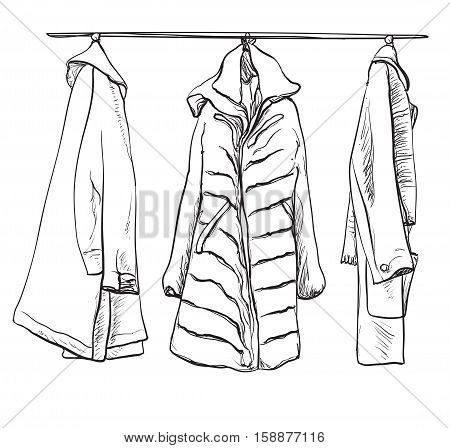 Woman coats for winter. Coat on the hangers