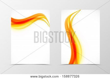 Front and back soft flyer template design. Abstract template with orange and red lines in wavy style. Vector illustration