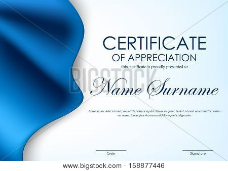 Certificate of appreciation template with luxury blue silky elegant cloth background. Vector illustration